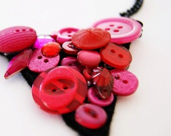 Pink Button Bib Necklace