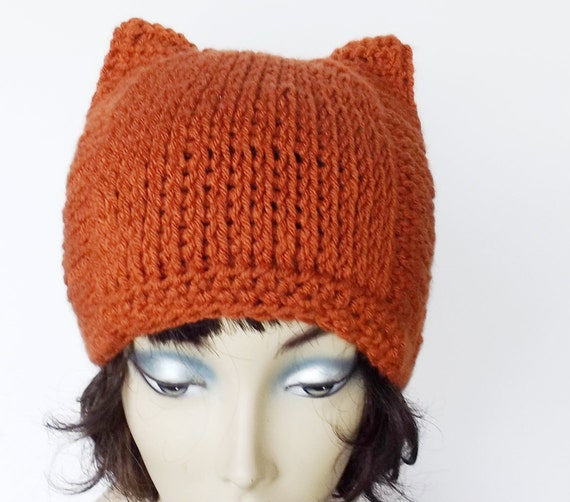 Crochet Cat Ears Beanie Halloween Square Hat