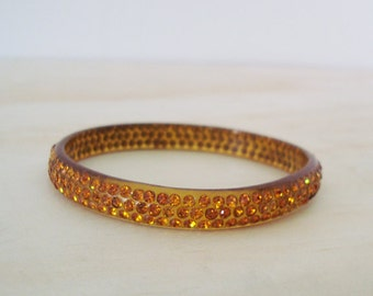 1920s Celluloid Sparkle Rhinestone Bracelet Amber rows  - Perfect -