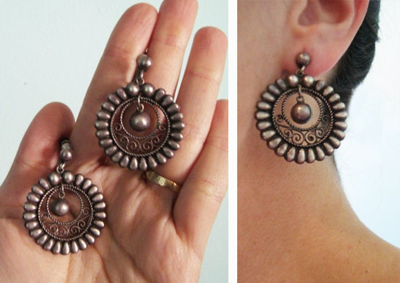 1940s Silver Mexican Filigree Drop Earrings  - Vintage Southwest Dome Sterling Silver - Dangle hoops original Patina