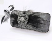 Silver Silk Formal Box Clutch , adorned with Swarovski Crystals and Feathers