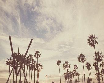 Venice Beach poster, large wall art, photography, LA photograph, brown, boys room skater surfer, palm trees California decor Los Angeles art
