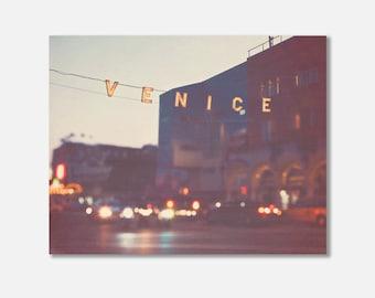 beach canvas wrap, Venice Beach photography, Venice at night photo wrap Los Angeles art plum purple gold bokeh gallery wrap LA Venice sign