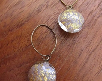 PALE LILAC: Murano Glass Earrings, 24kt Gold Foil, Puffy Disc