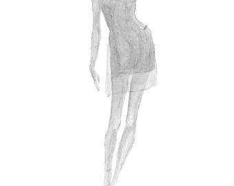 Black Watercolor woman silhouette fashion illustration, Fashion print, Girls room décor, Teen room wall art, Fashion sketch