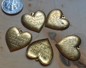 "6pc lot of  vintage ""my heart belongs to daddy"" charms - father's day or father of the bride daddy daighter gifts - old new stock raw brass"