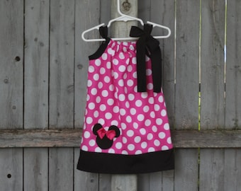 Pink Minnie Mouse Dress, Disney Minnie Mouse Polka Dot Pillowcase Dress with Applique, Minnie Mouse Birthday Dress