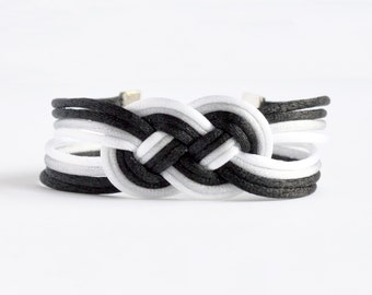 Shiny ombre black double infinity knotted nautical rope bracelet