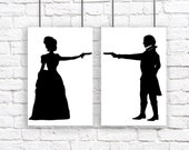 The Duel Large Silhouette Print Set Black and White Victorian Steampunk