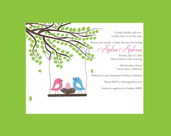 Bird nest baby shower invitation, Girl Baby shower, Girl Invitation (set of 10)