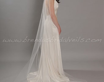 Illusion Tulle Bridal Veil, Sheer Single Layer, Wedding Veil, 90 thru 108 inch lengths available - Ashley