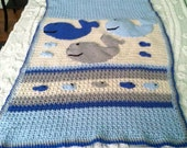 Baby boy whale and fish nautical theme blanket afghan made to order