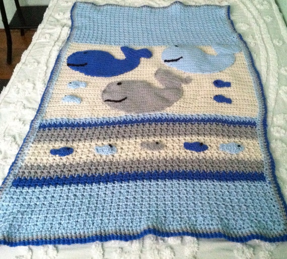 Free Crochet Whale Baby Blanket Pattern : Baby boy whale and fish nautical theme blanket afghan made to