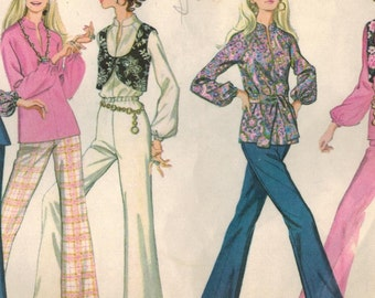 1960s McCall's 9689 Vintage Sewing Pattern Misses Blouse, Flared Pants, Bell Bottom Pants, and Vest Size 10 Bust 32-1/2