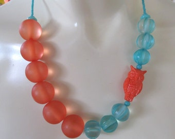 "STATEMENT NECKLACE -- OWL  mango and aqua resin, vintage lucite owl (19"" in length)"