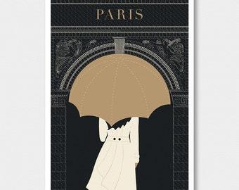 "Paris decor, ""Arc"" Minimalist Modern art print, Art Deco Poster Print, Large Wall Art Print, Travel Gift, Living Room Art Gift for Her"