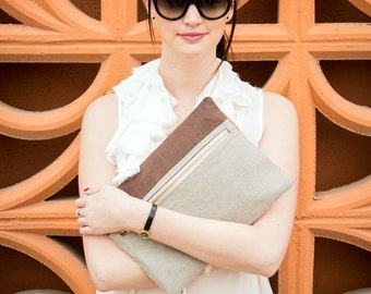 PS Color Block Clutch- Stone, Brown and Orange Clutch