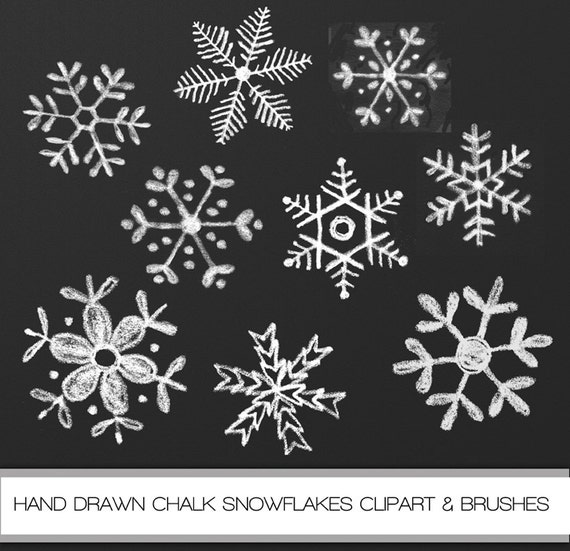 chalkboard hand drawn snowflakes clipart by colorsonpaper