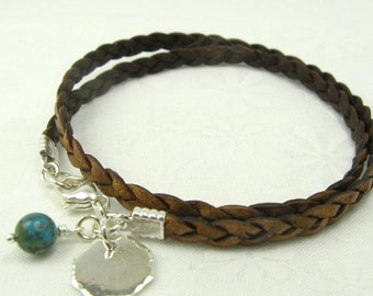 LEATHER WRAP BRACELET with handmade octagon charm sterling silver leather bracelet