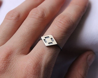 Diamond ring made of  Sterling silver black patina, Made to order in your size, Geometric ring, Deco pattern