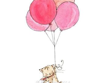 Children's Art -- Kitten Balloons -- Archival Print