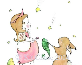 Children's Art -- Catch A Star Little Princess -- Archival Art Print