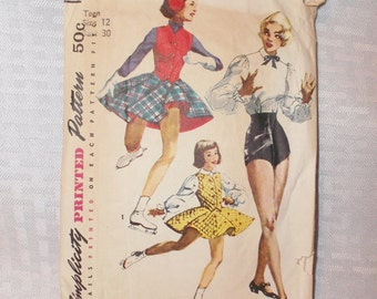 Clearance 1950's Vintage Pattern Teen's Tap Dance Trunks, Blouse and Skating Outfit Simplicity # 4035 30 Inch Bust