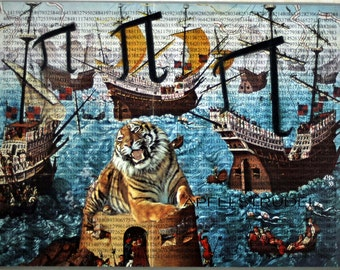 PI DAY Life of Pi. 3.1416. Collage Art. Recycled Materials. Tiger Ships