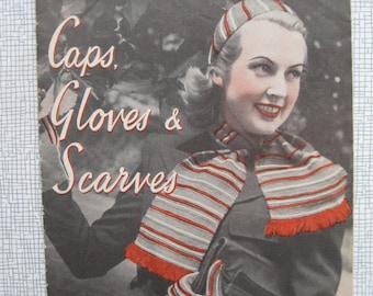 1940s Caps Gloves & Scarves Knitting Pattern Booklet - Weldons - Crochet - Wedding - WW2 - PDF