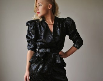 1970s Liquid Black Party Dress, Size Extra small to small