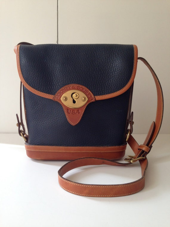 Vintage Dooney Amp Bourke Navy And Tan Binocular Crossbody