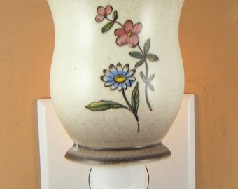 Tall Pottery Cup With Floral Pattern Custom Made  Night Light