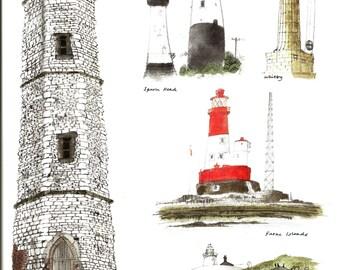 Nautical Print - Lighthouse Book Page, Print - Farne Island - UK - Vintage Maritime Art - David Gentleman - Coastline - 1980s