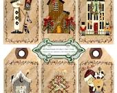 Christmas 1354 Prim Friends Tags Printable Digital Collage Sheet