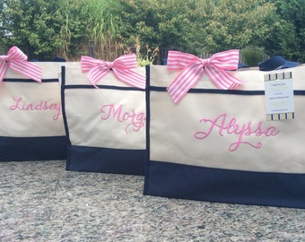 Bridesmaid Tote - Personalized Bag - navy, hot pink, black, lime - bridesmaid gift