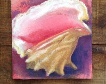 Pink Queen Conch Shell Original Oil Painting