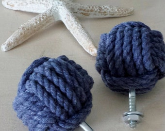 Monkey Fist Drawer Pulls- Set of Two - Blue