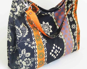 SALE - Travel Tote Hobo Folds Flat - Navy Orange Snowflake Multi - Ready to Ship by UPSTYLE