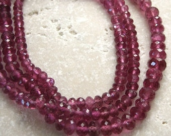 Rubellite Pink Tourmaline Faceted Rondelle Beads 4 to 4.5mm - 18 beads