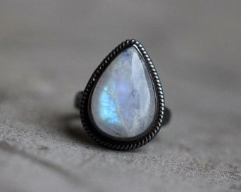 Oxidized Rainbow Moonstone Ring - Ethnic - Statement ring - Artisan ring - Sterling silver- handmade ring