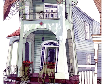 NEW ORLEANS HOME 10x13 (Giclée Print of Original Ink + Gouache Painting)