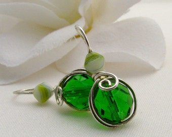Green Czech Glass One Piece Comfortable Silver Filled Wire Wrapped Earrings