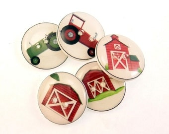 "Farm Buttons. Tractors and Barn Buttons.  5 handmade buttons. Farm Sewing Buttons for Boys. 3/4"" or 20 mm round."