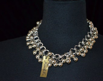 Vintage Bib Bibb Necklace by Mimi DI N.  Statement Ball and Chain.  Dangles NOS