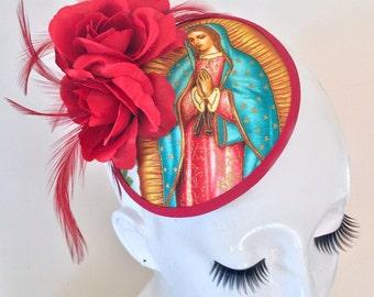 VIRGEN DE GUADALUPE Roses Round Fascinator Hat