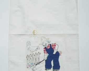 Vintage Towel Applique Farmer Hoes Rooster Crows