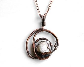 Electroformed Copper Druzy Quartz Pendant