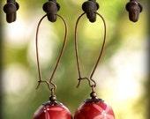 Red, pink and orange flower earrings