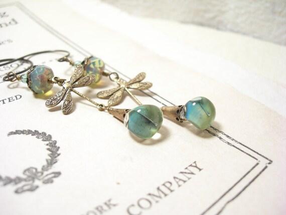 Dragonfly earrings sage green lampwork mint glass brass garden pamelasjewelry