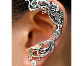 Mermaid Ear Wrap Silver Mermaid Ear Cuff Wave Ear Cuff Wave Rider Mermaid Ear Wrap Mermaid Jewelry Mermaid Earring Silver Mermaid Ear Jacket